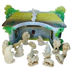 Vintage Italy carved wooden Nativity Set 17 nature wood figures and paper mache crib