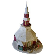"Large old German Erzgebirge Christmas putz paper mache Church house 14"" by 16"""