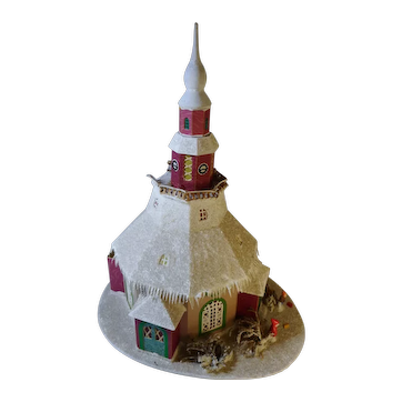 """Large old German Erzgebirge Christmas putz paper mache Church house 14"""" by 16"""""""