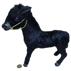 old German black paper mache Santa Horse  dolls size