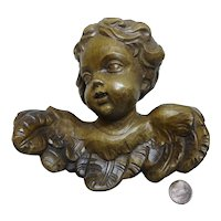 Vintage German carved wooden  Angel wall Ornament