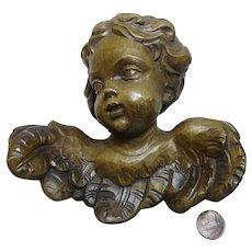 Vintage German carved wooden  Angel wall Ornament