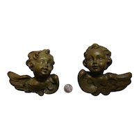 vintage German lot 2 carved wooden Angel wall Ornament