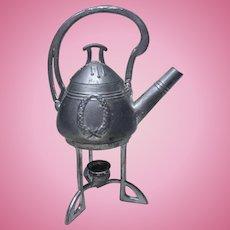 Art Nouveau german miniature Dollhouse tin tea pot kettle on candle stand