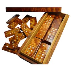 Thuya wood box Dominoes inlaid with Mother of Pearl