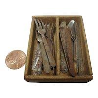 Antique German smoker kitchen miniature flatware in wood box