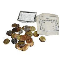 vintage German miniature Dollhouse lot 50 toy coins with metal basket