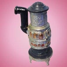 Antique German  miniature dollhouse pewter round heater stove