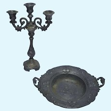Old German miniature Dollhouse pewter candle holder and fruit bowl