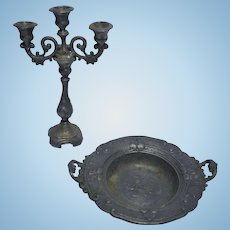 Antique German miniature Dollhouse pewter candle holder and fruit bowl
