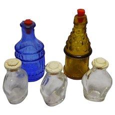 Vintage German miniature Dollhouse Shop lot 5 covered Bottles