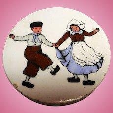 Antique German Dollhouse miniature Candy plate motive dancing dutchman