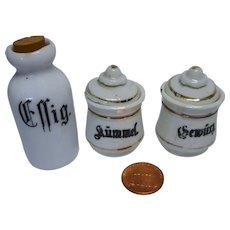 Vintage German miniature Dollhouse 3 porcelain Can