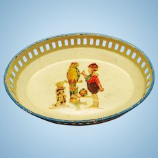Vintage German miniature Dollhouse Tin Basket with litho