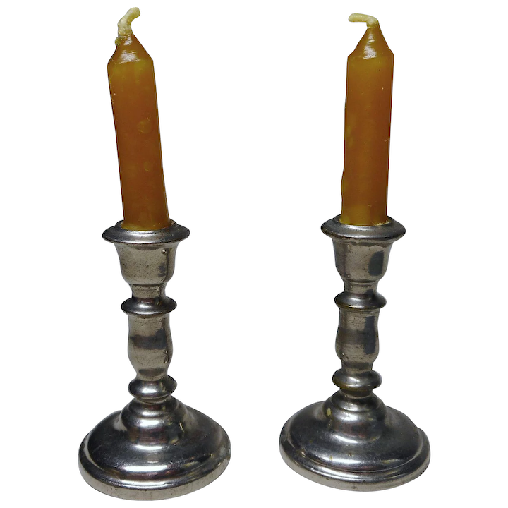 Dollhouse Miniature Pair of Gold Candlesticks with Wax Candles