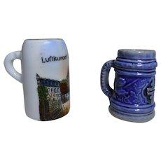 lot 2 antique german Dollhouse miniature beer mug