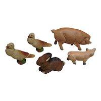 Antique German lineol lot 5 animals rabbit hog fercle deaf