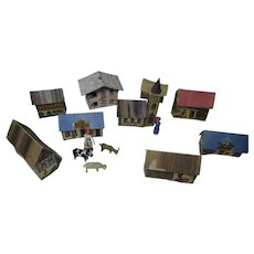 Antique German small size litho paper houses and erzgebirge figure