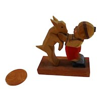 Vintage DDR Erzgebirge miniature carved wooden  child with goat