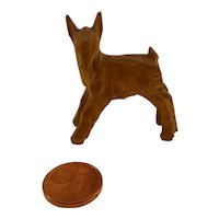 Vintage DDR Erzgebirge miniature carved wooden  fawn