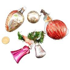 3 Glass Christmas Tree Balls Santa 2 Bells old German