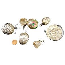 7 Glass Christmas Tree Balls Bell Fir Cone Walnuts old German