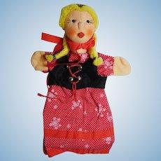 "vintage German hand puppet Kersa  ""Gretel"" unused"