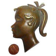 mid century 50´s Germany small wall mask bronze Girl Head
