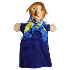 "vintage German hand puppet Kersa  ""Witch""  unused"