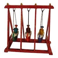 vintage german Erzgebirge Wind-up putz wooden doll swing