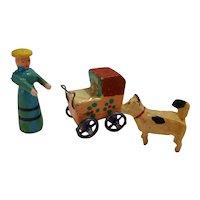 Old German Erzgebirge Putz Toys Mother Baby Carriage with metal wheel Dog