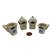 Old German Dollhouse kitchen porcelain 2 covered container and 2 cups