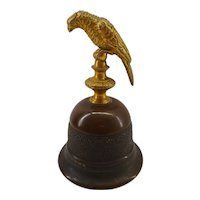 old German brass and bronze Table Bell with Parrot Bird