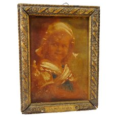 Old German miniature wooden framed picture with Child
