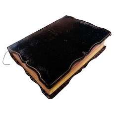 Vintage French Leather Religious Prayer Book