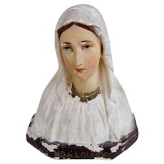 Our Lady of Lourdes plaster bust statue