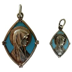 French Our Lady of Lourdes medals with blue Enamel
