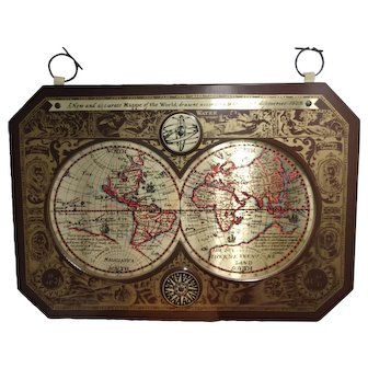 Masketeers Inc. 1960s New & accurate map of the world 1628 brass map