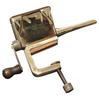 Vintage Crescent Marvel polished brass tobacco grinder cigarette tube stuffer