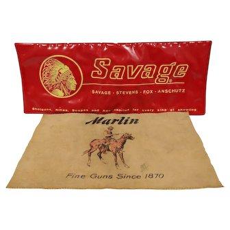 Two vintage Gun Maker countertop mats.. Marlin & Savage Arms