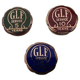 Grange League Federation 5,10,& 15 year 10 k gold screw back pins
