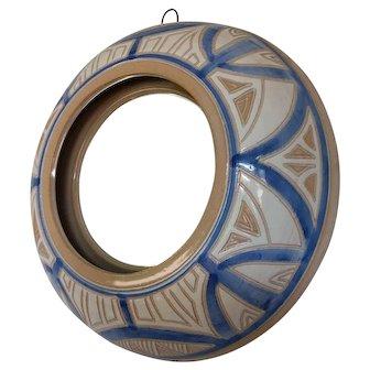 "Vintage ceramic cats eye mirror 9 3/8"" diameter wall mirror"