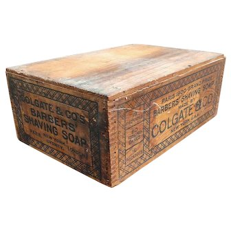 Vintage Colgate Co Barbers Shaving soap wooden advertising crate / box