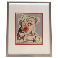 """1950s French Original Painting, """"The Clown"""" by listed French artist Raymond Moretti"""