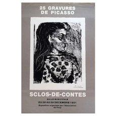 Picasso Original Art Exhibition Poster depicting Rare Gravures