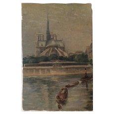 Notre Dame Paris Oil on canvas painting