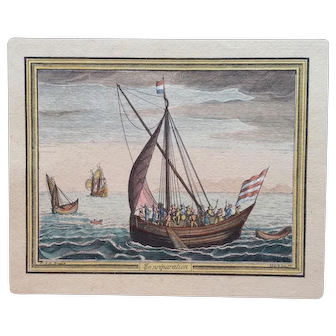 Bruegel 18th Century French Hand Colored Engraving Print