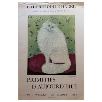 Original art exhibition poster Cat image by Listed French artist Jacqueline Benoit