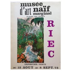 Botanical Scenery 1970's Art Exhibition Poster from the Musee d'Art Naïf Marginal