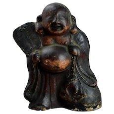 Antique Japanese Laughing Buddha, Buddhist Statue of Hotei, Kitchen God Fushimi Lucky Gods